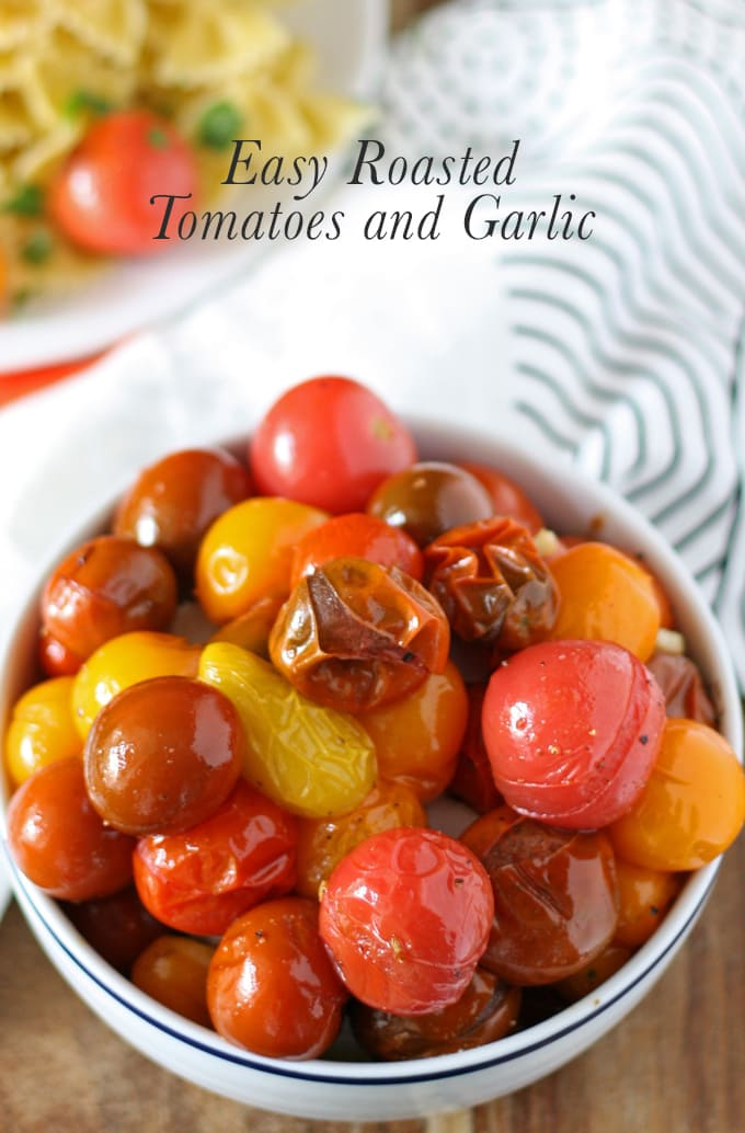 Easy roasted cherry tomatoes and garlic - perfect as a side dish or on top of pasta! | www.honeyandbirch.com