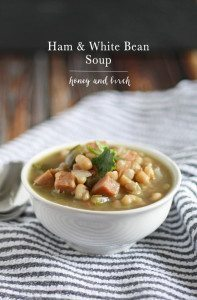 Great way to use up leftover Christmas ham! Ham and White Bean Soup | www.honeyandbirch.com #leftovers