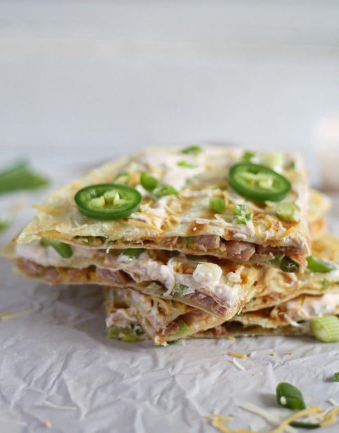 Great way to use up leftover Christmas ham! Ham, Jalapeno and Green Onion Quesadilla | www.honeyandbirch.com | #leftovers