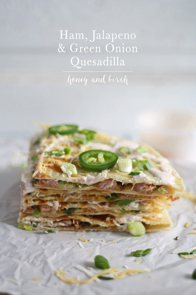 Great way to use up leftover Christmas ham! Ham, Jalapeno and Green Onion Quesadilla | www.honeyandbirch.com | #leftovers