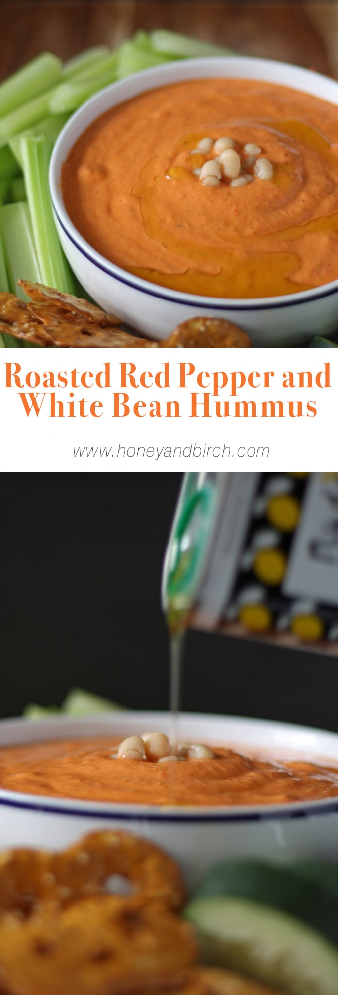 Roasted Red Pepper and White Bean Hummus | www.honeyandbirch.com | #dip