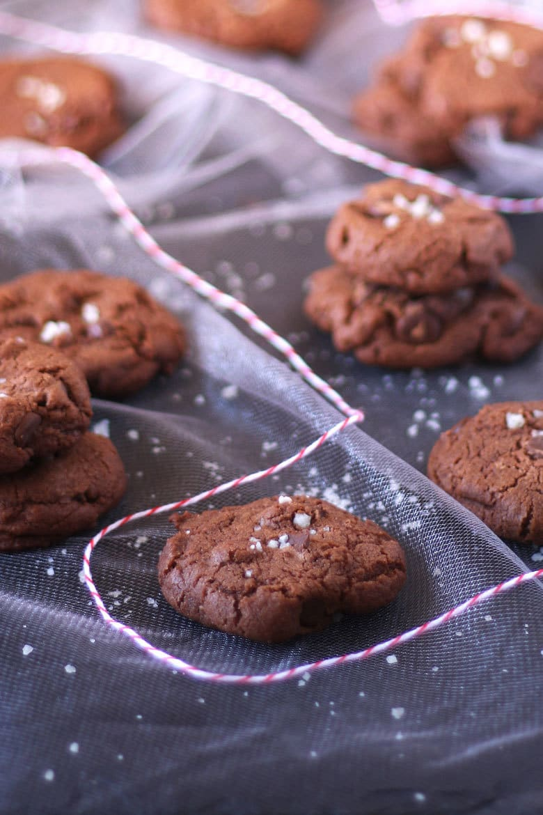 These sea salt double chocolate cookies are a crowd favorite. You can't say no to extra chocolate with sea salt in cookie form!   honeyandbirch.com