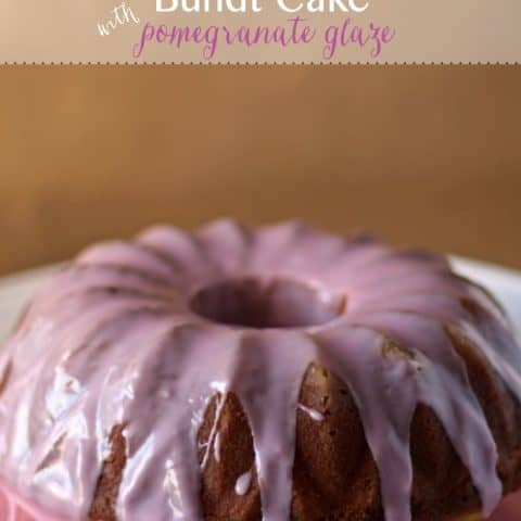 Vanilla Bean Bundt Cake with Pomegranate Glaze