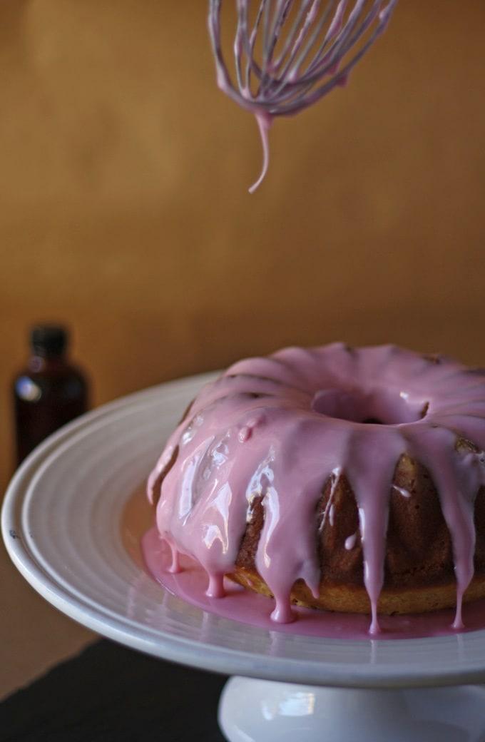 Vanilla Bean Bundt Cake with Pomegranate Glaze | www.honeyandbirch.com