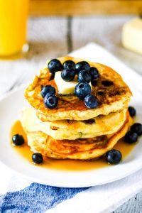 stack of blueberry orange pancakes
