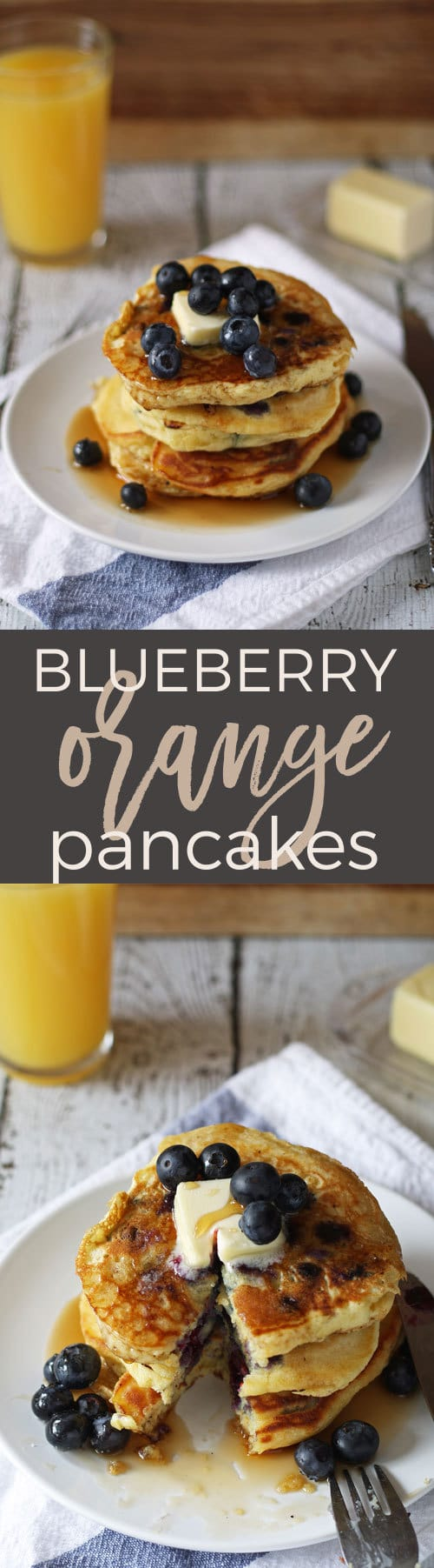 Blueberry orange pancakes - loaded with fruit and flavor! Breakfast will never be the same. | honeyandbirch.com