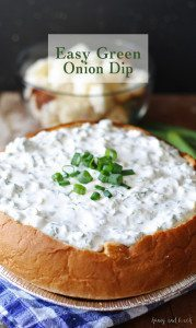 Easy Green Onion Dip - substitute spinach dip for this yummy appetizer! | www.honeyandbirch.com #dip