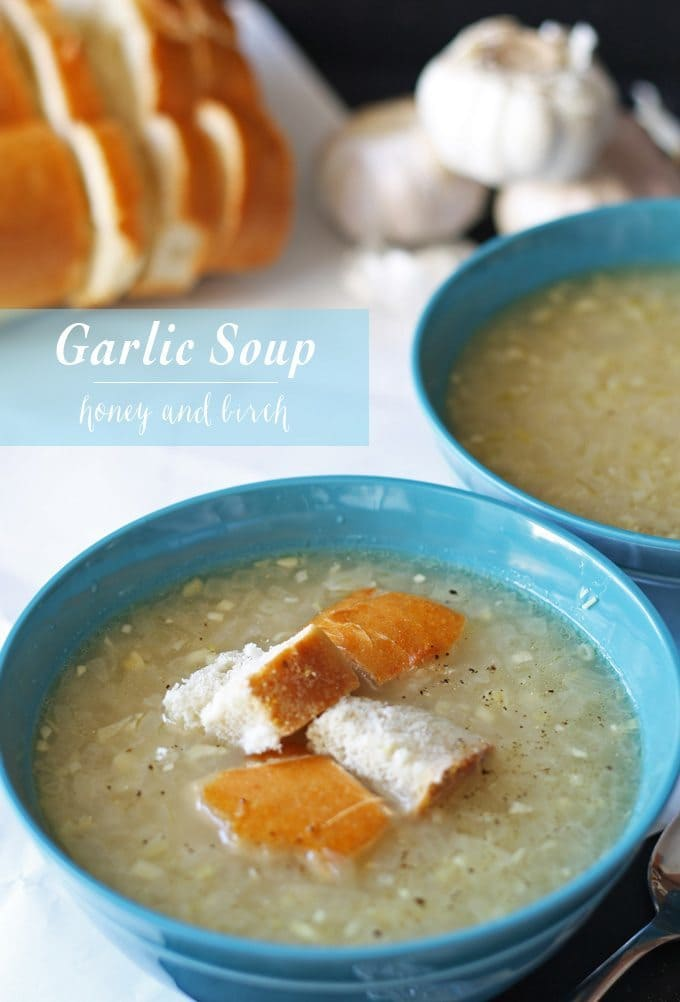 This garlic soup recipe is easy to make and perfect for fighting colds. It is aromatic, simple and healing! An everyday soup made from pantry staples.