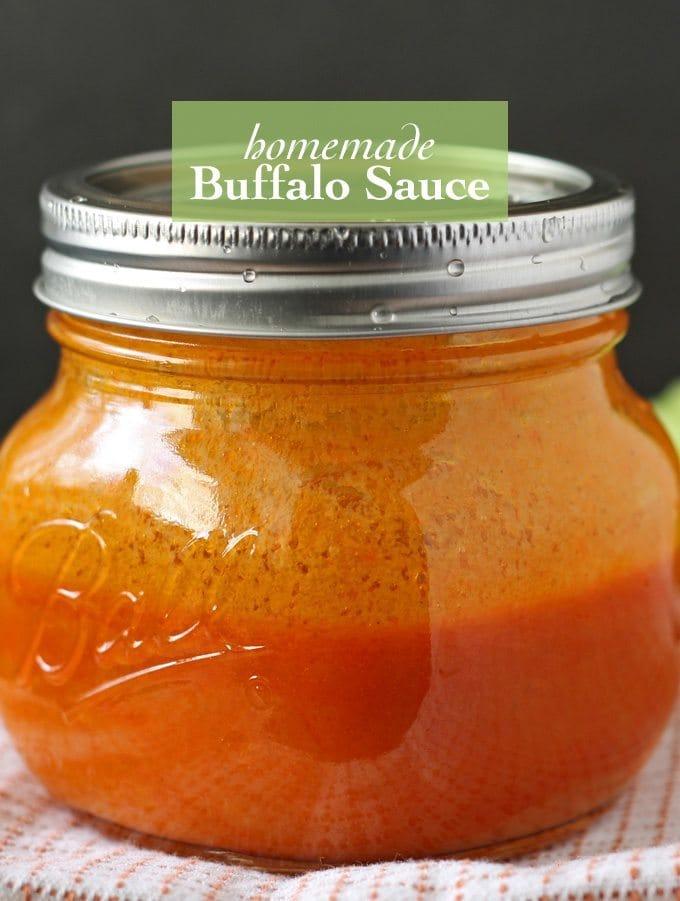 Homemade buffalo sauce in a mason jar