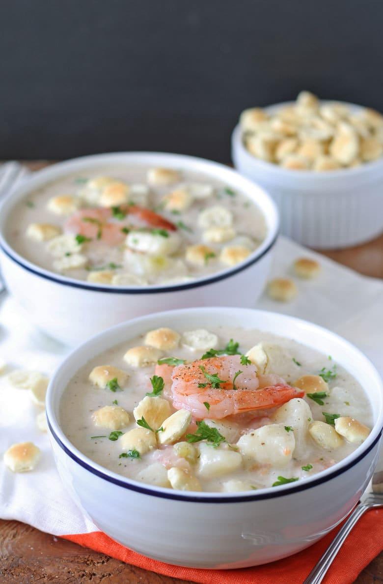 2 bowls of potato shrimp chowder