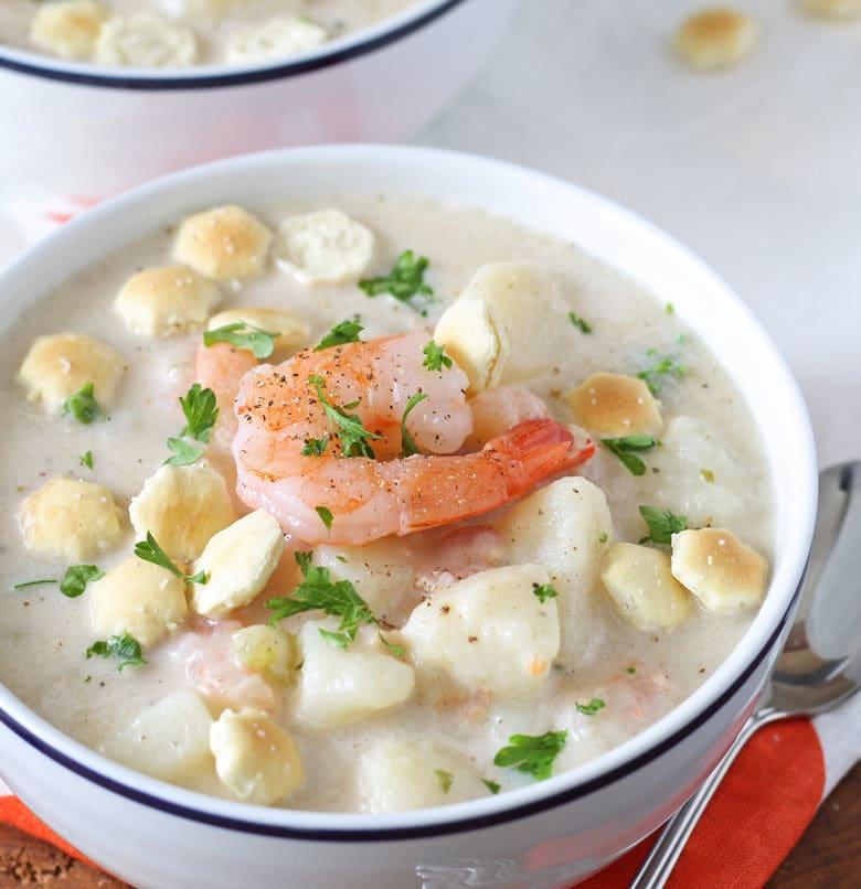 one bowl of potato shrimp chowder