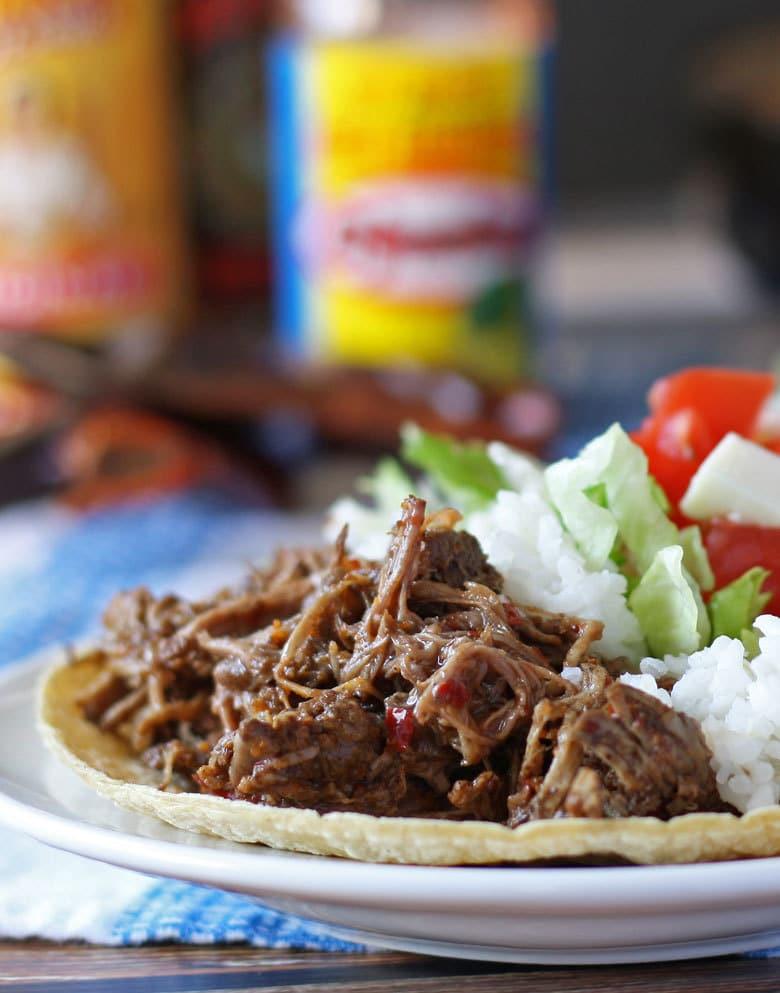 photo of slow cooker barbacoa beef
