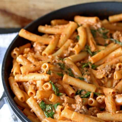 Cheesy Tomato Pasta Skillet | www.honeyandbirch.com | #dinner #sundaysupper