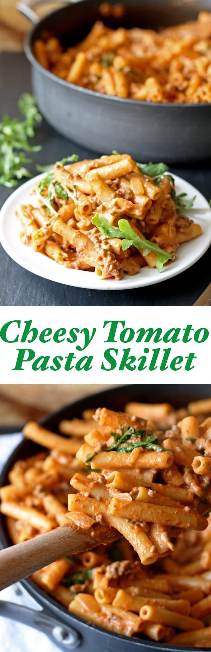 Cheesy Tomato Pasta Skillet | www.honeyandbirch.com | #dinner #sundaysupper #30minutemeal
