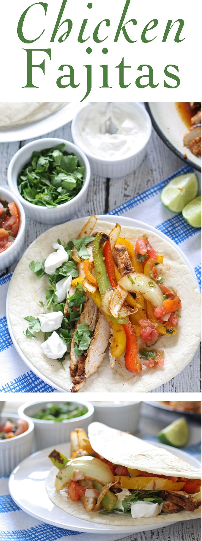 Make everyone happy with these grilled chicken fajitas. Chicken fajitas are the perfect recipe for summer family dinners - everyone can put whatever toppings they want on their own fajitas.