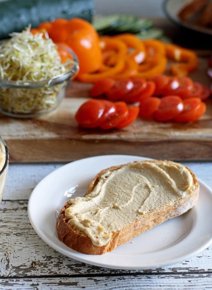 Hummus and Veggie Sammie | www.honeyandbirch.com | #lunch