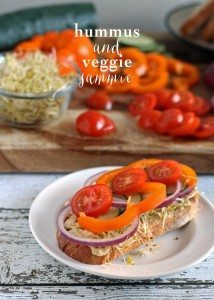 Hummus and Veggie Sammie | www.honeyandbirch.com | #lunch