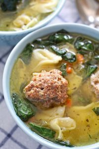 photo of meatball tortellini soup