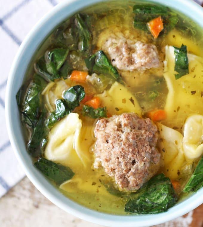 Meatball Tortellini Soup | www.honeyandbirch.com #soup