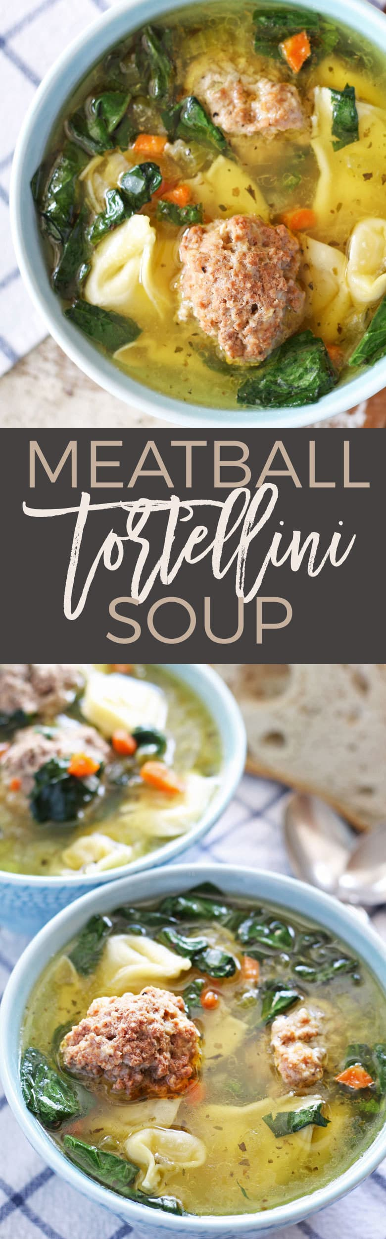 This easy meatball tortellini soup is hearty and perfect for lunch or dinner! Made with store-bought tortellini and giant meatballs! | honeyandbirch.com