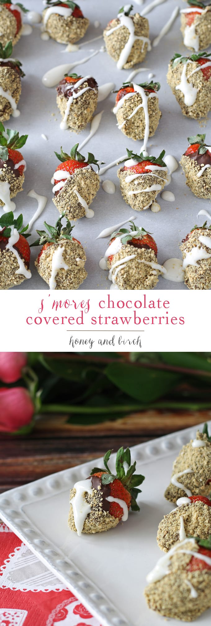 S'mores chocolate covered strawberries are the perfect dessert for Valentine's Day or treat for any day. Easy to make your own at home! | honeyandbirch.com