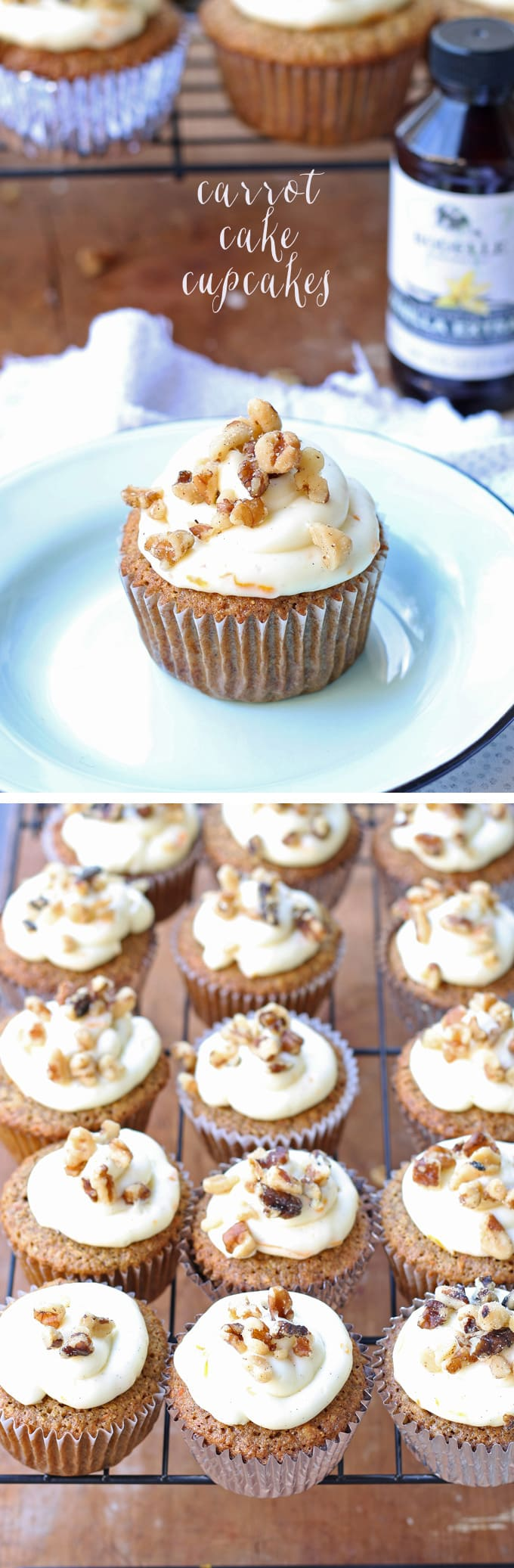 Delicious carrot cake cupcakes, filled and topped with sweet cream cheese frosting! | honeyandbirch.com