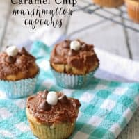 Chocolate Caramel Chip Marshmallow Cookie Cupcakes