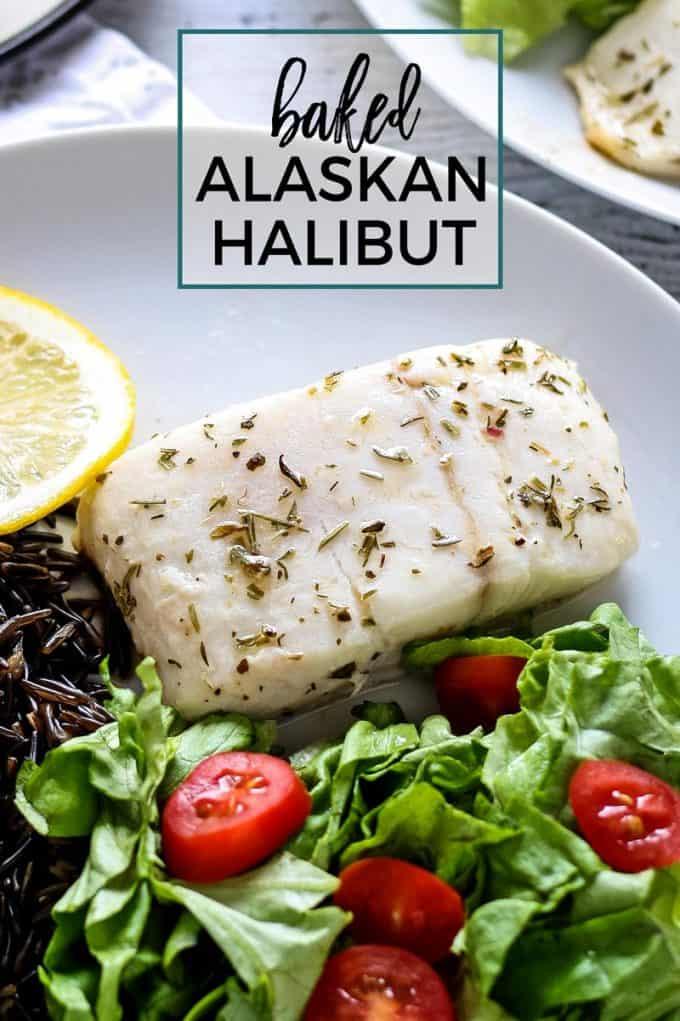 baked Alaskan halibut Pinterest image