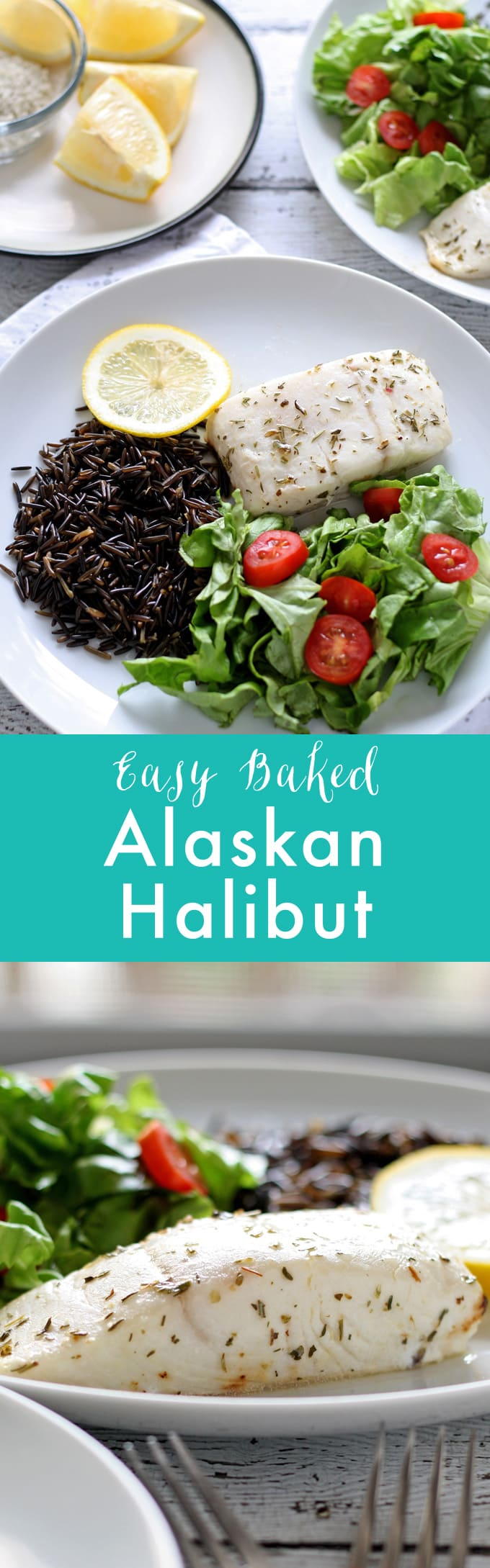 Easy Baked Alaskan Halibut - put this delicious fish dinner on the table in under 30 minutes! #WildAlaskaSeafood #30minutemeal