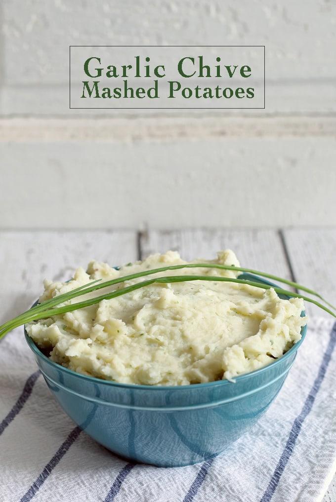 Garlic Chive Mashed Potatoes   www.honeyandbirch.com #sidedish