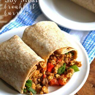 Egg Soy Meat Breakfast Burritos #soyswaps | honeyandbirch.com #sp