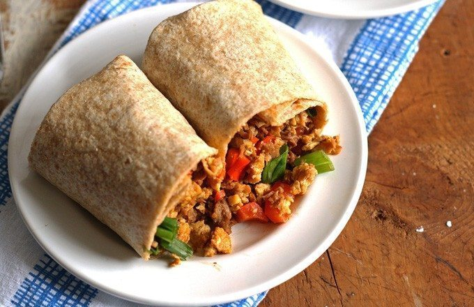 Egg Soy Meat Breakfast Burrito #soyswaps | honeyandbirch.com #sp