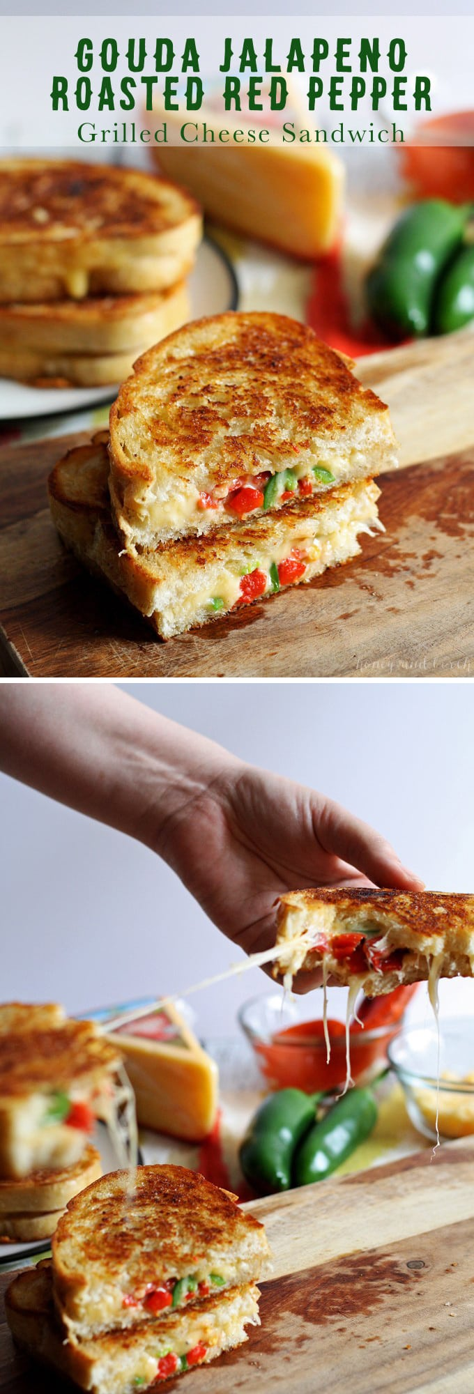 Gouda Jalapeno Roasted Red Pepper Grilled Cheese Sandwich | honeyandbirch.com