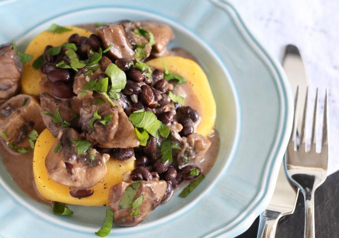 Polenta, Mushrooms and Black Beans   honeyandbirch.com   #dinner #vegetarian