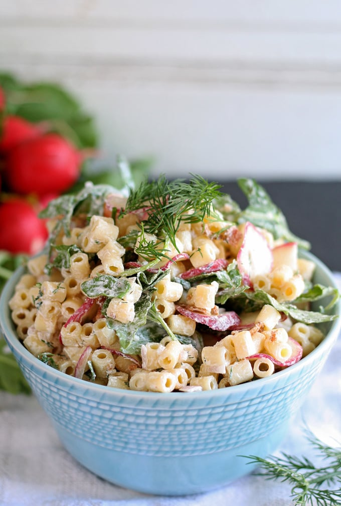 Spring Pasta Salad with Radishes and Arugula | honeyandbirch.com