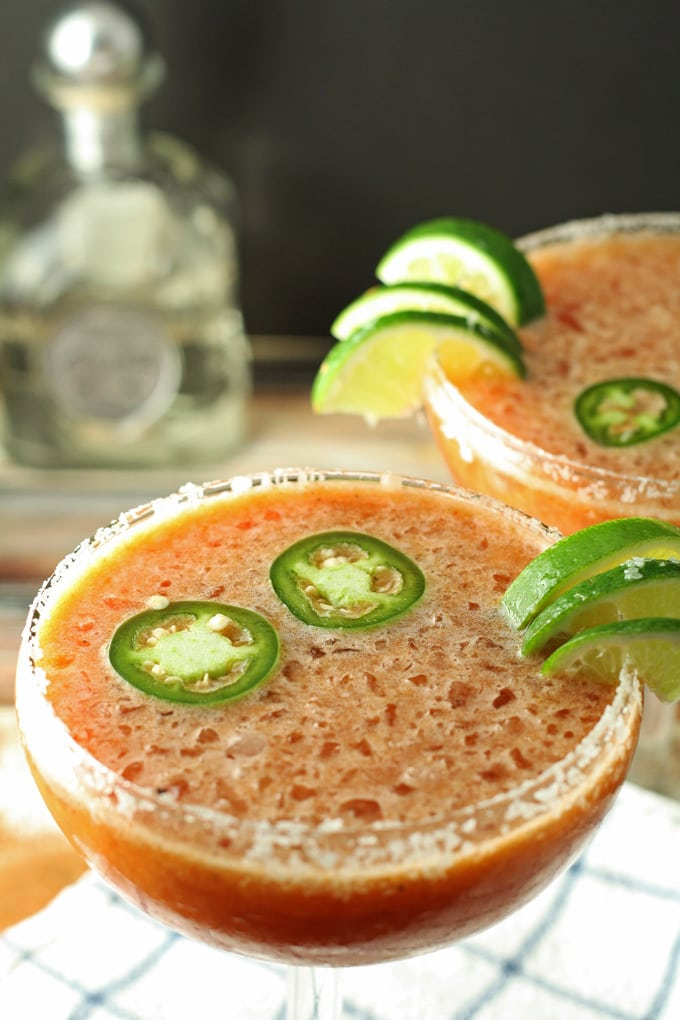 Bloody Margarita - a cross between a bloody Mary and a margarita! #cocktail | honeyandbirch.com |