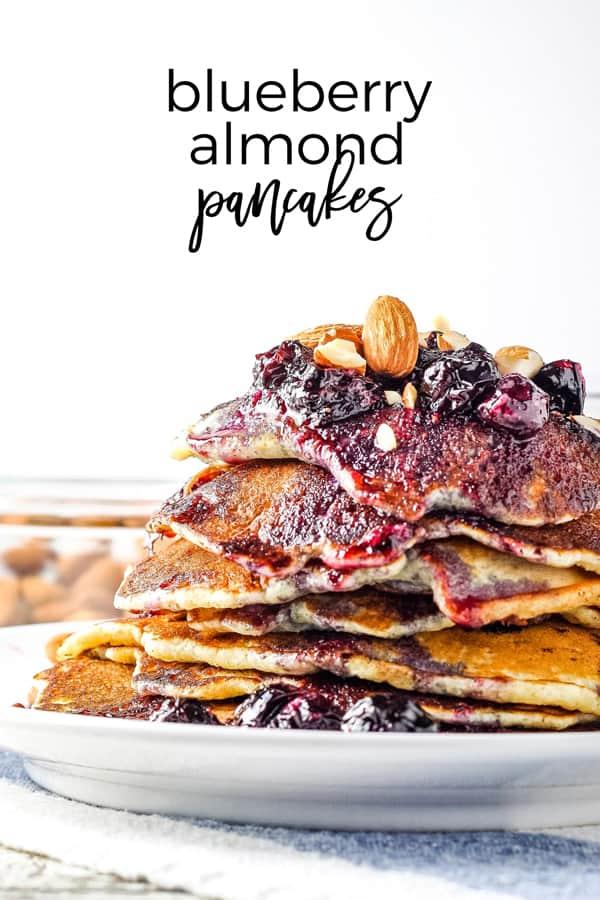 blueberry almond pancakes Pinterest image