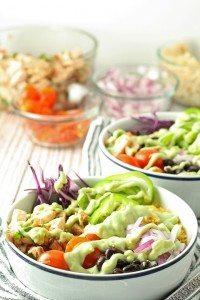 Leftover Chicken Burrito Bowls   honeyandbirch.com
