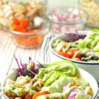 Leftover Chicken Burrito Bowls | honeyandbirch.com