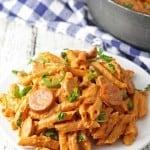One Pot Spicy Sausage Skillet #dinner #pasta honeyandbirch.com