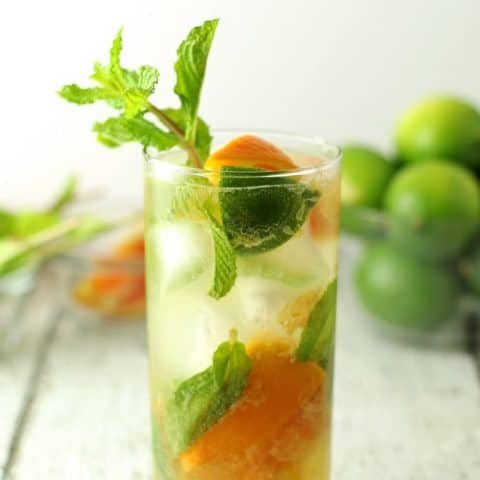Orange mojitos are the perfect refreshing summer drink! Keep all the ingredients on hand so you can make them all summer long! #cocktail | honeyandbirch.com