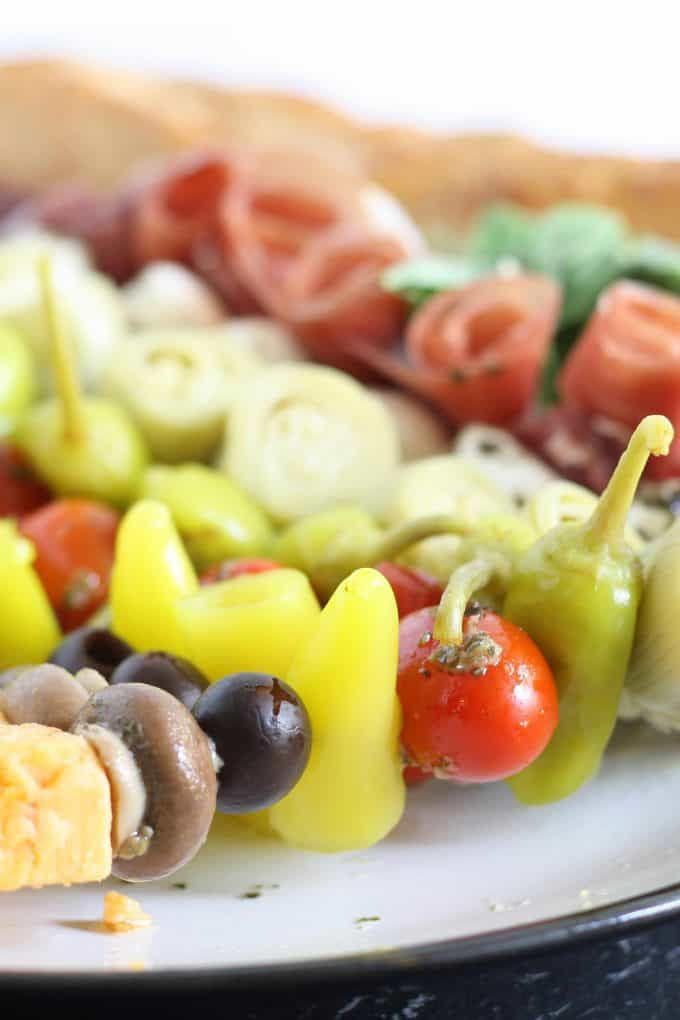 close up photo of antipasto skewers