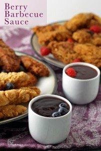 Berry Barbecue Sauce - perfect for dipping chicken!   honeyandbirch.com