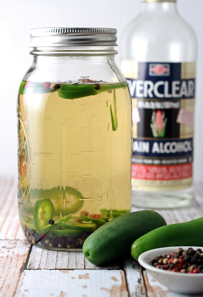 Homemade Pepper Jalapeno Liqueur is perfect for bloody marys. #MakeItYourOwn