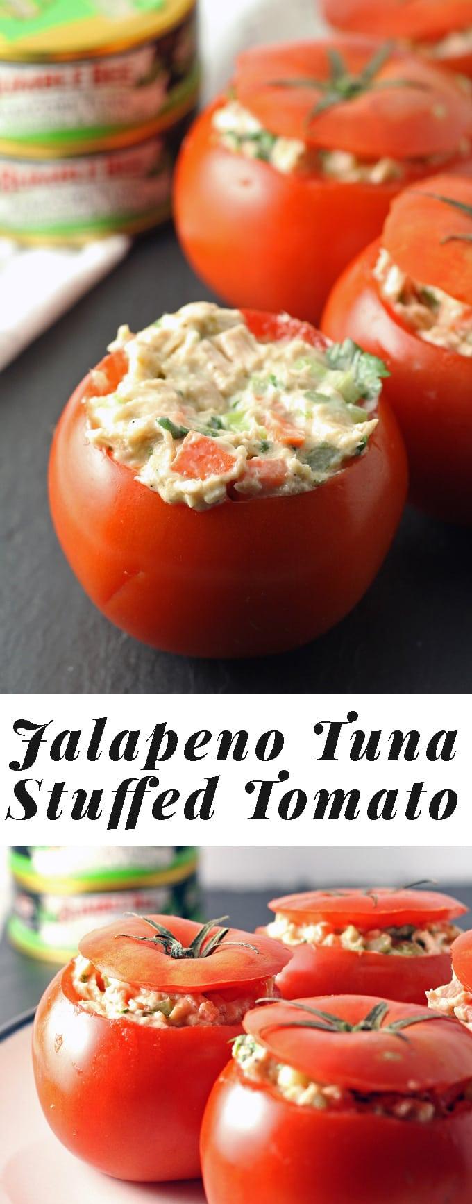 Jalapeno Tuna Stuffed Tomato Recipe - perfect for a quick lunch! | honeyandbirch.com #TunaStrong #CG