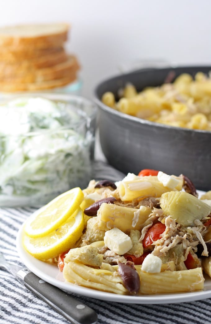 Healthy eating doesn't have to be boring! Try this tasty One Pot Mediterranean Chicken Feta Pasta made with Nikos® feta. #NikosFeta #WaveOfFlavor