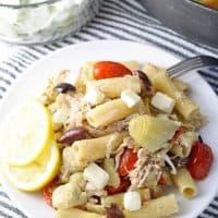One Pot Mediterranean Chicken Feta Pasta