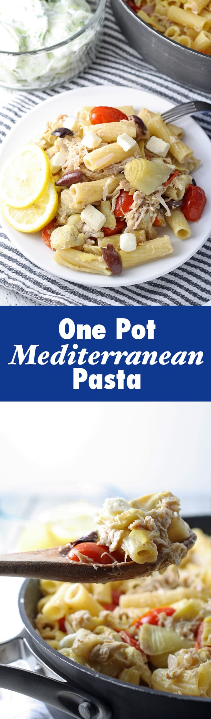 Healthy eating doesn't have to be boring! Try this tasty One Pot Mediterranean Chicken Feta Pasta! | honeyandbirch.com