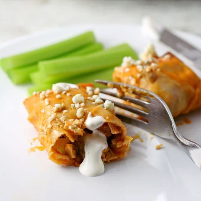 baked buffalo chicken egg roll appetizer