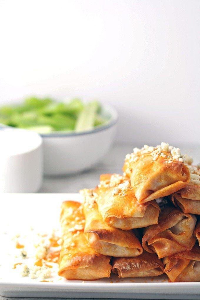 Baked Buffalo Chicken Egg Rolls - great for appetizers! | honeyandbirch.com